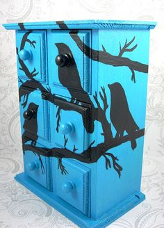 Turquoise Black Bird Stash Jewelry Box by pzcreations22 on Etsy, $27.00