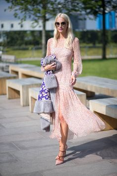 Poppy Delevingne is all feminine charms in an ethereal floral dress by London fave Jonathan Saunders.    - HarpersBAZAAR.com