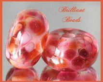Peach Peonies...Dusky Pink Glass Spacer Bead Pair...Handmade Lampwork Beads SRA, Made To Order