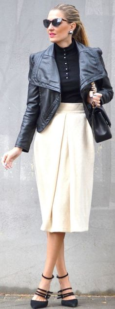 Cream Box Pleated Midi Skirt Fall Street Style Inspo by By My Heels