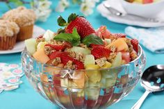 Country Fruit Stand Salad gets its sparkling taste from a marinade of a combo of ginger ale, orange juice and honey. This unbeatable trio of flavors turns an ordinary fruit salad recipe into something special. Fruit Dishes, Fruit Bowls, Fruit Salad Recipes, Dessert Recipes, Fruit Stands, Food Test, Food Website, Healthy Desserts, Cold Desserts