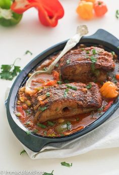 Caribbean Stewed Fish Caribbean Fish Stew (Brown Stew fish) A simple Stew with marinated red snapper and Tilapia, infused with spices , herbs , tomatoes. Salmon Recipes, Fish Recipes, Seafood Recipes, Indian Food Recipes, Cooking Recipes, Healthy Recipes, Oven Recipes, Simple Recipes, Delicious Recipes