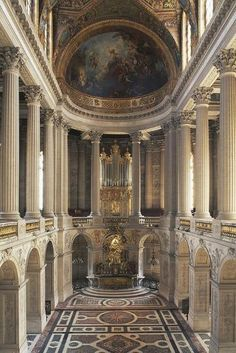 Vintage Interior Design Photographic Print: Interior of Versailles' Chapel : - Baroque Architecture, Classical Architecture, Beautiful Architecture, Interior Architecture, Landscape Architecture, Church Architecture, Arcade Architecture, Architecture Wallpaper, Ancient Architecture