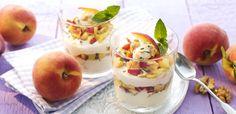 Rezept Quarkspeise mit Pfirsichen, Honig und Walnüssen