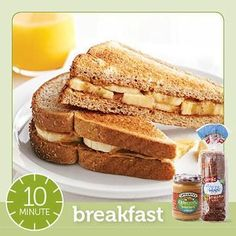 [Diabetic Meals in Minutes: Breakfast, Lunch & Dinner Peanut Butter and Banana Breakfast Sandwich. I love this idea as I get so busy in the mornings that I sometimes forget to eat, which can be a bad thing. Easy Diabetic Meals, Diabetic Meal Plan, Diabetic Snacks, Diabetic Friendly, Diabetic Recipes, Low Carb Recipes, Healthy Snacks, Snack Recipes, Pre Diabetic