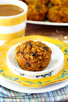 These Pumpkin Oatmeal Muffins are the perfect grab-n-go breakfast or snack with our favorite fall flavors! (low-calorie, healthy, non-dairy and gluten-free) ------- Yum Gluten Free Pumpkin, Healthy Pumpkin, Gluten Free Baking, Pumpkin Recipes, Dog Recipes, Muffin Recipes, Fall Recipes, Sin Gluten, Pumpkin Oatmeal Muffins