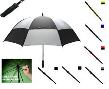 """GENTS MENS LARGE DOUBLE CANOPY WIND PROOF VENTED BLACK GOLF FISHING UMBRELLA 50"""""""