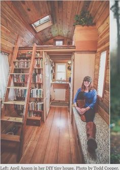 I love everything about this Tiny House....the layout and the use of recycled and reclaimed materials. Almost perfect layout.I think, I would put a desk space between the ladder and bookshelf and make the nook by the front door a reading nook....