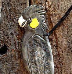 Handmade Ceramic Bird. Yellow-tailed Black Cockatoo. Garden, home decoration, Christmas gift idea. Australian made