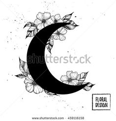 Hand drawn vector illustration - moon with flowers and leaves. Perfect for invitations, greeting cards, quotes, tattoo, textiles, blogs, posters etc.