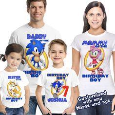 Sonic Birthday Shirt, Sonic the Hedgehog Birthday, Sonic party 7th Birthday Boys, Sonic Birthday Parties, Sonic Party, Birthday Ideas, Custom Birthday Shirts, Birthday Boy Shirts, Sonic Cake, Sonic The Hedgehog Cake, History Of Birthdays