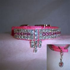 "Diva Dog Collar  This beautiful collar is Solid BLING for dogs! 5/8"" - 1"" wide. Presenting our fabulous Diva Dog pet collar. This is a very sparkly and upscale designer collar for those who really love BLING!"