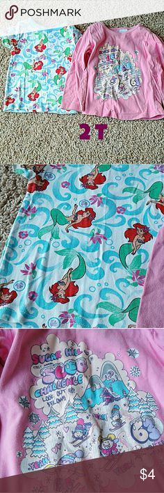 Girls 2T Shirt bundle the little mermaid ariel Girls 2T shirt bundle includes:  - Disney The Little Mermaid Ariel pajama top - Wonder Kids Pink long sleeve winter graphic tee  ✔fast shipping! ✔smoke and pet free home! ✔budle and save! ✔reasonable offers accepted! Disney Shirts & Tops Tees - Short Sleeve