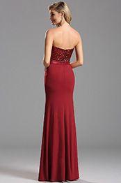 Vestido de Dama de Honor Rojo Sin Tirante Corte Cariño(X07160217)