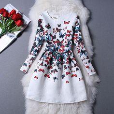 Vestido de festa 2015 outono inverno Vestido mulheres marca manga comprida Casual vestidos senhoras da cópia do vintage plus size roupas femininas em Vestidos de Roupas e Acessórios no AliExpress.com | Alibaba Group