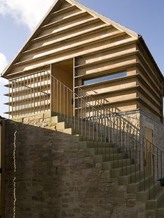 Timber louvre effect cladding Timber Architecture, Timber Buildings, Contemporary Architecture, Architecture Details, Contemporary Barn, Wood Facade, Timber Cladding, Timber Structure, Interesting Buildings