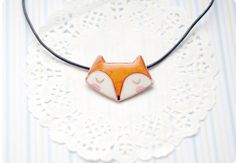 Fox necklace, orange polymer clay fox pendant with copper wire, fox jewelry on Etsy, $25.00
