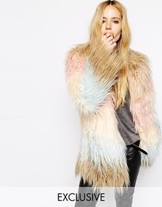 Adore! - Story Of Lola Short Faux Fur Coat With Rainbow Pattern