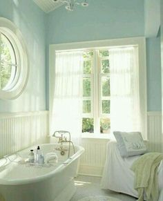 Seafoam blue and white bathroom
