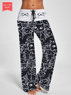 5d1a0694080a Trendy Mid Waist Cat Print Wide-leg Drawstring Women Long Pants - Black L
