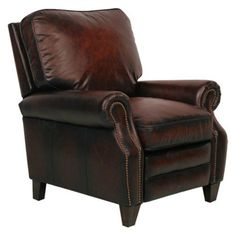 Barcalounger Briarwood II Leather Recliner with Nailheads Stetson Bordeaux - 74490540717