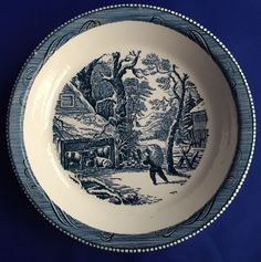 Royal China Currier and Ives Pie Plate Blue and White Man Carrying Hay Vintage #RoyalChina #PiePlate