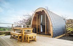Two glamping, eco-pods on the edge of the Peak District, with lush farmland views and plenty of home comforts… City Of Derby, Castleton Derbyshire, Eco Pods, Woodland Lodges, Arched Cabin, Camping Pod, Roof Shapes, Farm Stay, Peak District