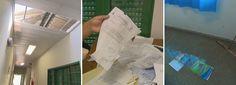 Telhas do conselho tutelar de Samambaia Norte, no DF, foram arrancadas por vento de temporal da madrugada deste domingo (8). Documentos acabaram molhados (Foto: Reprodução/TV Globo)