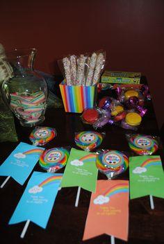 Rainbow party goody table.