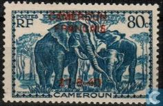 Postage Stamps - Cameroon [CMR] - elephants, with imprint