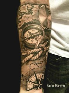 What does pirate tattoo mean? We have pirate tattoo ideas, designs, symbolism and we explain the meaning behind the tattoo. Map Tattoos, Body Art Tattoos, Sleeve Tattoos, Tattoo Sleeves, Anchor Tattoos, Cool Forearm Tattoos, Forearm Tattoo Design, Diy Tattoo, Rope Tattoo