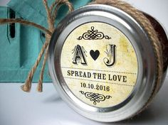 Wedding Initials vintage paper Canning jar labels, custom round stickers for mason jars, wedding and bridal shower favors, Spread the Love, Etsy $6