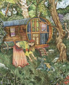 "Fata's Vardo: ""The Secret,"" by David Hoffrichter, at deviantART. Fantasy Places, Fantasy Art, Dragons, Gypsy Culture, Gypsy Caravan, Gypsy Wagon, Earth Design, Stitch Book, Pics Art"