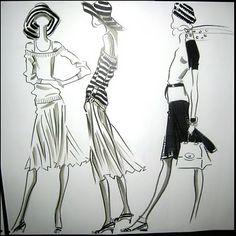 Fabulous Doodles-Fashion Illustration Blog-by Brooke Hagel: Scarves and Stripes