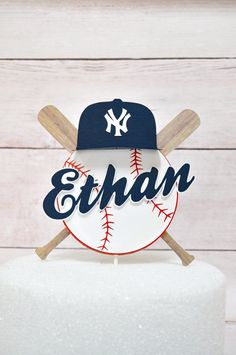 Baseball Cake Topper with Name / Ball and Bat theme layered Cake Decoration / Personalized / Party Cake decor / baseball cap - Cake Decorating Cupcake Ideen 1st Birthday Parties, Boy Birthday, Theme Parties, Sports Birthday, Birthday Ideas, Baseball Theme Birthday, Party Cakes, A Team, First Birthdays