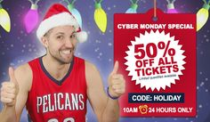 Pelicans Cyber Monday Special - 50% Off tickets to any game the rest of the season!