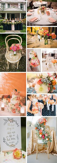 Coral, Navy and Gold Color Palette Inspiration
