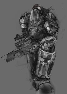 Space Marine Sketch by patryk-garrett on DeviantArt Space Marine, Character Sketches, Character Design, Character Ideas, Fortes Fortuna Adiuvat, Dystopian Fashion, Post Apocalyptic Fashion, Robot Concept Art, Fantasy Images