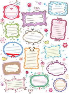 Cute and colorful free decorative labels vector.