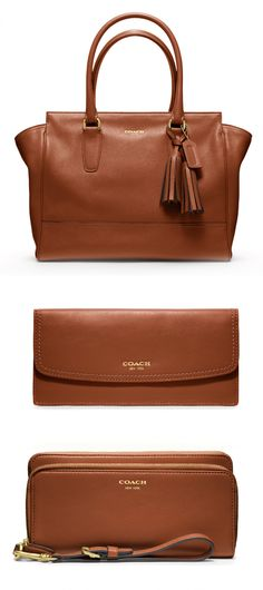 A carryall pairs perfectly with small leather goods in Cognac for the Legacy Collection.