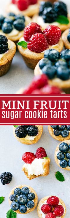 The ultimate BEST EVER miniature sugar cookie tarts with cream cheese filling and glazed fruit topping! via chelseasmessyapron.com
