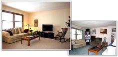 decluttered living room - plants added
