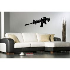 Submachine gun Wall Art Sticker Decal Loading that magazine is a pain! Excellent loader available for the Uzi Get your Magazine speedloader today! http://www.amazon.com/shops/raeind