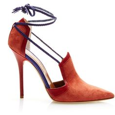 Malone Souliers Terracotta Haji Pump ($1,150) ❤ liked on Polyvore featuring shoes, pumps, woven-leather shoes, woven shoes, leather shoes, leather pumps and genuine leather shoes