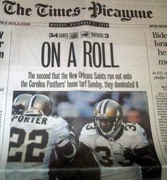 Tracy Porter and Jabari Greer on the front page of the Times-Picayune on Nov, 8, 2010