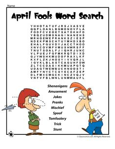 April Fools Word Search - - Pinned by – Please Visit for all our pediatric therapy pins Funny April Fools Pranks, April Fools Day Jokes, Pranks For Kids, Jokes For Kids, Teacher Worksheets, Worksheets For Kids, Reading Activities, Activities For Kids, Adjectives Activities