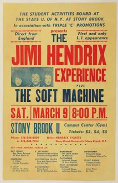 Jimi Hendrix Only Known Original Concert Poster From New York State University at Stony Brook