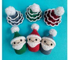 Christmas Tree Ornaments Set of 6 Crochet Hanging Christmas