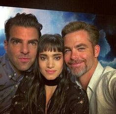 A Star Trek selfie - Zachary Quinto, Sofia Boutella and Chris Pine.