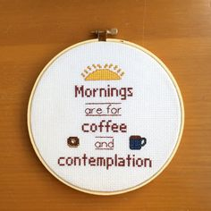Stranger Things - Mornings are For Coffee and Contemplation - Cross Stitch - by BananyaStand on Etsy